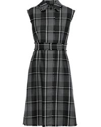 Thom Browne Frayed Checked Wool-twill Dress Gray