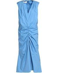 Marni - Ruched Cotton-poplin Dress Sky Blue - Lyst