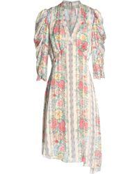 Anna Sui - Asymmetric Printed Satin Dress - Lyst