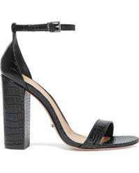 f567b80571b Schutz - Woman Enida Croc-effect Leather Sandals Black - Lyst