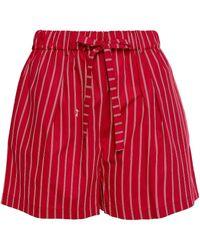 McQ Striped Cotton-poplin Shorts Red