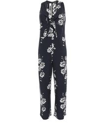 McQ Knotted Floral-print Twill Jumpsuit Black