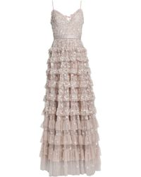 Needle & Thread - Marie Tiered Embellished Tulle Gown Neutral - Lyst