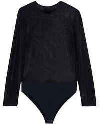 The Row Olin Stretch-mesh Bodysuit Black