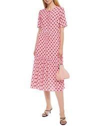 Markus Lupfer Carter Gathered Printed Crepe Midi Dress - Pink