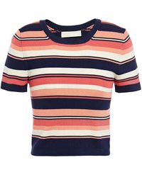 MICHAEL Michael Kors Cropped Striped Ribbed-knit Top - Blue