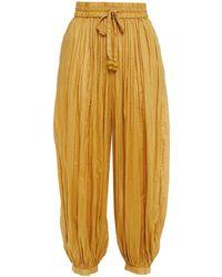 Zimmermann Gathered Cotton Tapered Trousers Mustard - Yellow