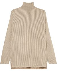 Agnona Ribbed Metallic Cashmere-blend Turtleneck Sweater Neutral - Natural