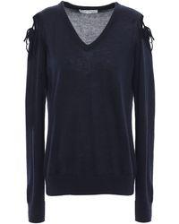 Autumn Cashmere Cold-shoulder Cashmere Sweater Midnight Blue