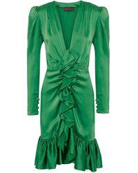 Dundas Ruffled Satin Dress - Green