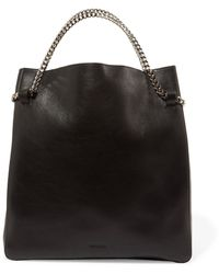 Jil Sander Chain-trimmed Leather Tote Black