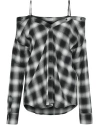Bailey 44 - Cold-shoulder Checked Flannel Top - Lyst