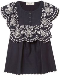 Sea Ruffled Broderie Anglaise-trimmed Cotton Top - Blue