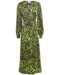 Ganni Tiger-print Silk-blend Satin Midi Wrap Dress Lime Green