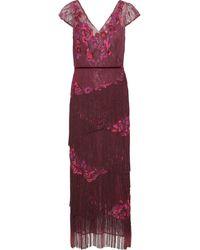 Marchesa notte Fringed Embellished Chantilly Lace Midi Dress Plum - Purple