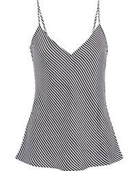 FRAME Striped Washed-silk Camisole - Black