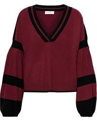 Amanda Wakeley Striped Brushed-cashmere Sweater Brick - Multicolor