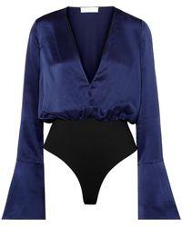 Caroline Constas Daria Silk-satin Bodysuit - Blue