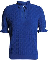 Sandro - Bow-detailed Pleated Cloque Top Royal Blue - Lyst