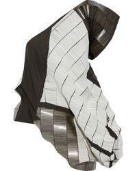 Rick Owens Elipse One-shoulder Bead-embellished Cotton-blend Top Dark Gray