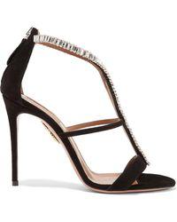 Aquazzura | Constance Crystal-embellished Suede Sandals | Lyst