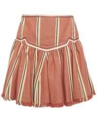 Étoile Isabel Marant Delia Gathered Striped Cotton Mini Skirt Brick - Multicolour