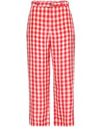 RED Valentino Cropped Gingham Cady Woven Straight-leg Pants Red