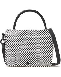 Truss Leather-trimmed Two-tone Raffia-effect Woven Shoulder Bag Black