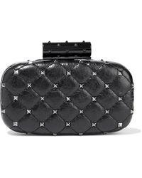 Valentino Garavani Rockstud Spike Quilted Leather Clutch - Black