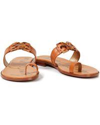Sam Edelman Eaden Embellished Leather Sandals Light Brown