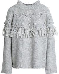 Rachel Zoe - Pompom-embellished Tasseled Wool-blend Sweater Light Gray - Lyst