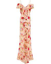 De La Vali Jolene Cold-shoulder Ruffled Floral-print Silk Crepe De Chine Maxi Dress - Pink
