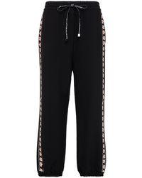Vivetta Jacquard-trimmed Stretch-crepe Track Pants - Black
