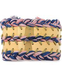 Aurelie Bidermann - 18-karat White Gold-plated And Cotton Braided Bracelet - Lyst