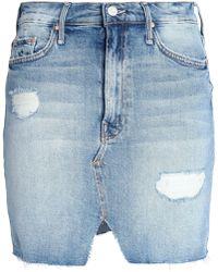 Mother - Distressed Faded Denim Mini Skirt Mid Denim - Lyst