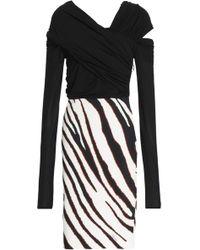 Roberto Cavalli - Cutout Zebra-print Stretch-jersey Dress - Lyst