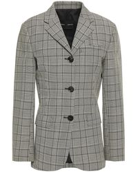 Proenza Schouler Prince Of Wales Checked Wool-blend Blazer - Gray