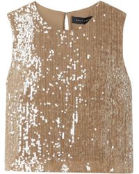 Sally Lapointe Cropped Paillette-embellished Georgette Top - Natural