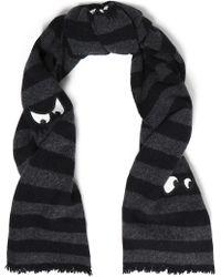 McQ - Woman Appliquéd Striped Wool Scarf Charcoal - Lyst