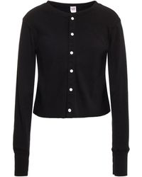 RE/DONE 50s Ribbed Cotton Cardigan - Black