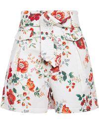 Maje Belted Floral-print Denim Shorts White