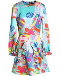 House of Holland - Ruffle-trimmed Printed Satin-crepe Mini Dress - Lyst