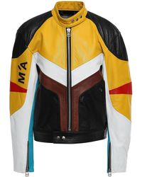 Marques'Almeida Color-block Leather Bomber Jacket Marigold - Multicolour