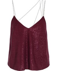 Michelle Mason Crystal-embellished Lurex Camisole Burgundy - Purple