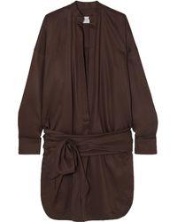 Bondi Born Tie-detailed Lyocell Mini Dress - Brown