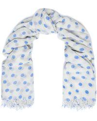 Chan Luu Frayed Polka-dot Cashmere And Silk-blend Scarf Blue