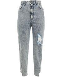 Just Cavalli Distressed Acid-wash High-rise Slim-leg Jeans Light Denim - Blue