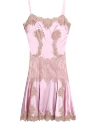 Dolce & Gabbana - Lace-trimmed Pleated Silk-blend Satin Dress Pastel Pink - Lyst