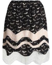 Nina Ricci - Lace-trimmed Printed Silk Skirt - Lyst