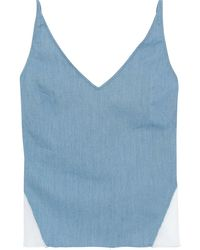 J Brand Cotton-blend Chambray And Organza Camisole Slate Blue